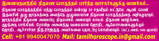 Tamil Marriage Matching Astrology - Tamil jothidam - Tamil Horoscope